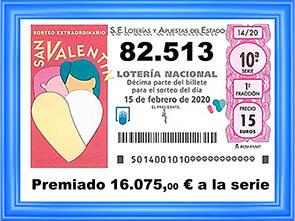 PREMIO 82513 LOTERIA NACIONAL DEL SABADO
